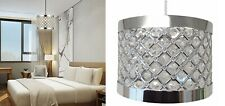 Country Club Sparkly Ceiling Pendant Light Shade Fitting,Easy Fit Silver & White