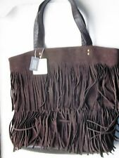 ladies new look bag in brown with fringes on front has inside pocket etc free p&