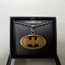 "DC Comics BATMAN 2-Tone Stainless Steel Logo Pendant - 22"" Ball Chain"