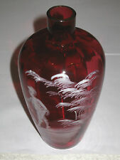 Vintage Crystal Glass 19th Century Mary Gregory Style Enamel on Glass Red Vase