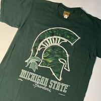 Rare VTG 90s Nutmeg Michigan State Spartans T Shirt Large Made in USA Green