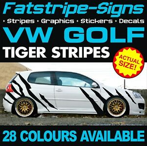 VW GOLF TIGER STRIPES GRAPHICS STICKERS DECALS VOLKSWAGEN V DUB GTI R32 R 2.0 D