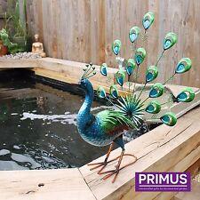 Primus vibrante Ventilador De Metal Cola de Pavo Real Decoración De Jardín De Exteriores Pintado A Mano