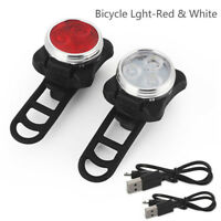 Cycling Bicycle Bike 3 LED Head Front With USB Rechargeable Tail Clip Lamp US
