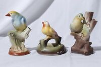 Avian Flower Frog Bud Vase Colorful Birds Made in Czechoslovakia Set of 3