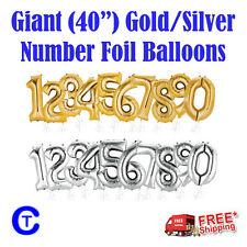 "Gold & Silver 40"" 100cm Number Foil Balloons Party"