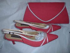 JACQUES VERT SHOES & MATCHING PINK SILVER BAG SIZE EU 39 (6)POMEGRANITE RANGE*