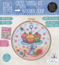 CROSS STITCH KIT WITH WOODEN HOOP- CUPCAKES ON STAND