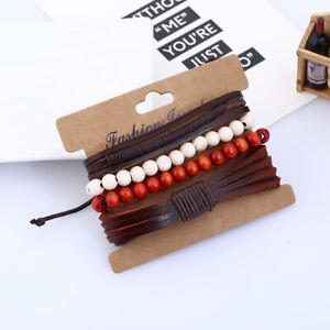 4Pcs/Set Fashion Men Classical Hemp Rope Leather Braided Adjustable Bracelets