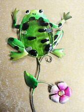 "New listing Home Garden Pool Yard Patio *Frog Flower Yard Stake 23"" Glass Metal Brand New"
