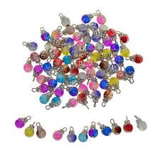 50pcs Bulk Glass Bead Charms Flower Cap Pendants For Jewelry Making Decors Craft