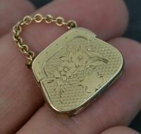 Rare Novelty Georgian 9ct Gold Purse Bag Shaped Mourning Locket Pendant