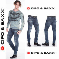 CIPO & BAXX Herren Jeans CD382 NEU Hose Skinny/Slim Fit Enges Bein Denim Stretch