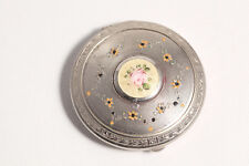 Art Deco Compact Guilloche Enamel Silvertone Powder Vanity Make-up Floral Yellow