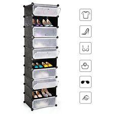 Mobile scarpiera mobiletto armadio modulare con 10 scomparti nero con ricami