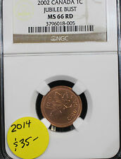 **2002**,NGC Graded Canadian,  Small One  Cent, **MS-66**