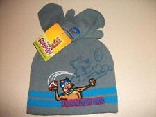 NEW Toddler Boys Beanie Hat Mitten Set Scooby Doo Dog Football Gray Blue Cap