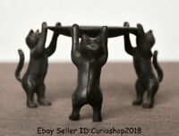"2.2"" Old China Bronze Dynasty 3 Cat Hold Plate Candle Holder Candlestick Statue"