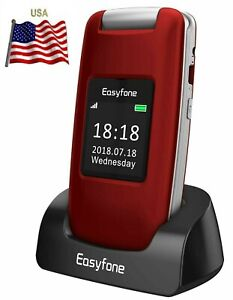 Easyfone Prime A1 3G Unlocked Senior Flip Cell Phone, Big Button Hearing Aids