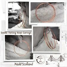 Wirewrapped 1.5 mm Double Piercing Extra Large Cuivre Moderne Boucles d'oreilles Créoles