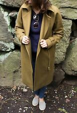 J Crew Heather Olive Belted Zip Trench Coat In Wool Melton Size 2