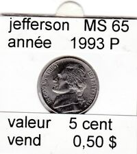 e 2 )pieces de 5 cent jefferson  1993 P    voir description