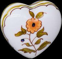 "Chamart Limoges France Orange Floral Heart Trinket Jewelry Box Decor 2-1/2"""