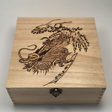 PORTAGIOIE BOMBONIERA SCATOLA IN LEGNO dragone cinese pyrography personalizzato