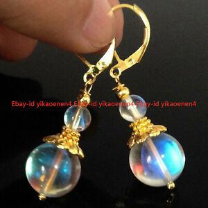 Handmade Elegant 4/10mm Moonstone 14k Gold clasp Leverbacks Earrings