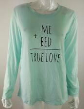 Me + Bed = True Love Joe Boxer Juniors Large Sleep Shirt Long Sleeve Blue NWT