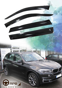 For BMW X5 F15 14-18 Sliver Logo Deflector Window Visor Guard Weather Shield