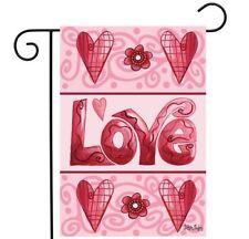 Briarwood Lane Sleeved Garden Flag 12.5x18 Love Hearts Valentines Day Flower New