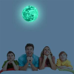 3D Luminous Moon Glow In The Dark Wall Stickers Home Decor Sticker Kids Bedroom