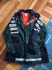 Vintage 90s Izod Sport Nylon Jacket Coat Spellout Green Blue Large Zip Pullover