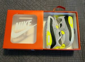 Nike Air Max 90 Crib CI0424-101 White Particle Grey Volt Baby Bootie Shoes 4C