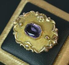 Victorian 9ct Rose Gold and Amethyst Brooch c1880 p1849