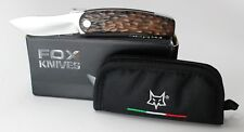 FOX Rhino Pocket Knife Ziricote Wood Handle Bohler N690 Plain Edge FOXR10