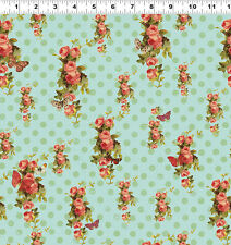 DEVOTION Flower on Aqua Quilt Fabric by 1/2 Yard Y1790-33 Iron Orchid Designs