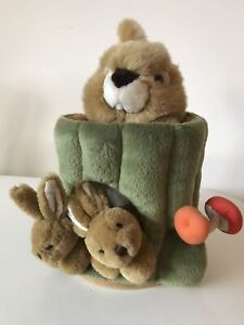 Puppet RABBIT IN A Tree Stump With Baby Rabbits Plush Soft Toy
