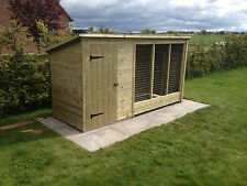 TANALISED WOODEN DOG KENNEL AND RUN / CATTERY  12FT X 4FT