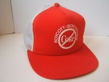Vintage Boycott Boycottons Coke Hat Red Snapback Trucker Cap