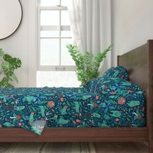 Abstract Blue Sloths Sloth Animals 100% Cotton Sateen Sheet Set by Roostery