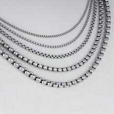 New 2mm Men's Chain Silver Tone Stainless Steel Box Link Necklace 23.5inch Gifts
