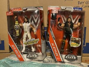 WWE Elite Seth Rollins Series 45 White Suit & AJ STYLES Series 51 LOT Of 2