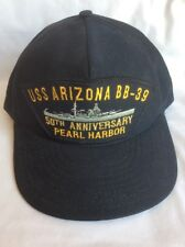 USS Arizona 50th Anniv. Pearl Harbor Hat BB-39 Snap Back Trucker Hat Cap USA H2