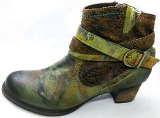 L'Artiste Shazzam Gray Brown Black Multi Color Sz 41 Ankle Boots Excellent
