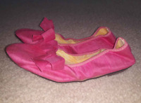 Vintage 50's Women Pink Ballet Flats w/Bow Dress Slip-On Shoes Goodyear sz 5-5.5