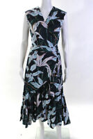 Tory Burch Womens Cotton Bloom Print Wrap Dress Blue Size Medium 12216145