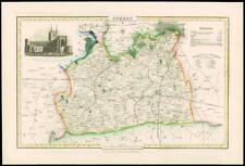 1846 - Original Antique Map of SURREY by Slater ST SAVIOURS CHURCH SOUTHWARK