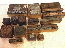 16 Antique Letterpress Printer Blocks Chevrolet+Lumber+Rx+Auto+Am Legion+Kiwanis